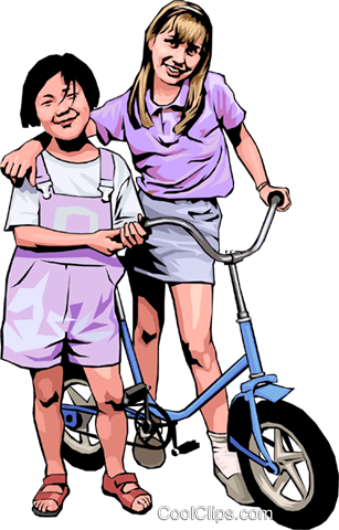 Two friends with a bicycle Royalty Free Vector Clip Art illustration peop4179