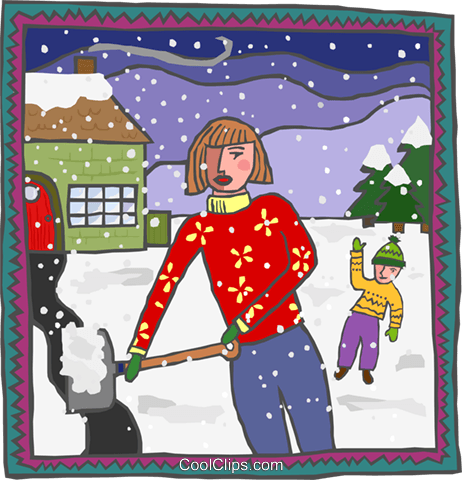 mother shoveling snow Royalty Free Vector Clip Art illustration peop4181