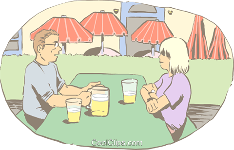 talking over lunch at an outdoor table Royalty Free Vector Clip Art illustration peop4183