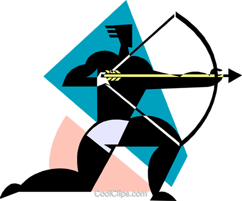 Archer with bow and arrow Royalty Free Vector Clip Art illustration spor0515
