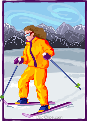 Girl skiing in the alps Royalty Free Vector Clip Art illustration spor0519