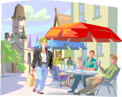Shopper near cafe in European village Royalty Free Vector Clip Art illustration trav0205