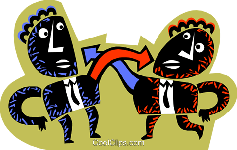 Figures pointing at each other Royalty Free Vector Clip Art illustration busi2383