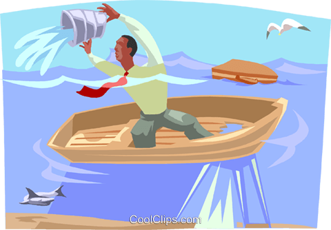 bailing water in shark-infested waters Royalty Free Vector Clip Art illustration busi2385