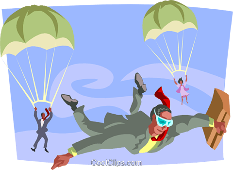 businessmen parachuting Royalty Free Vector Clip Art illustration busi2389