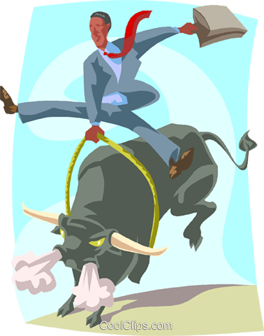 man bull rider, stock market metaphor Royalty Free Vector Clip Art illustration busi2396