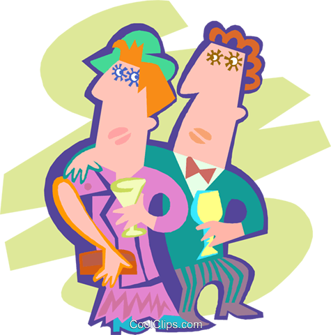 Couple having a drink Royalty Free Vector Clip Art illustration peop4190