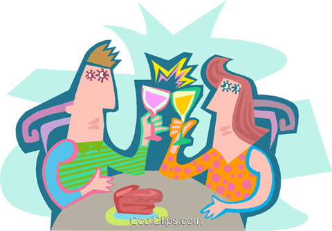Couple having a drink Royalty Free Vector Clip Art illustration peop4193