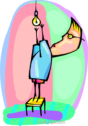 man replacing a light bulb Royalty Free Vector Clip Art illustration peop4212