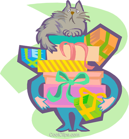 cat sitting on a pile of gifts Royalty Free Vector Clip Art illustration spec0419