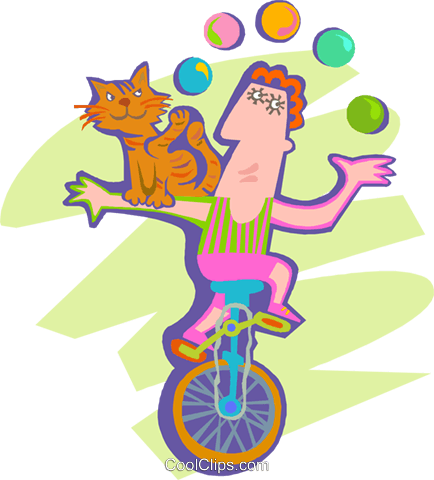 Man juggling riding on a unicycle Royalty Free Vector Clip Art illustration spec0420