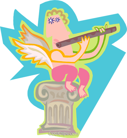 Angel playing the flute Royalty Free Vector Clip Art illustration spec0423