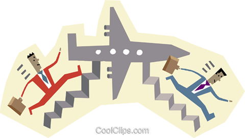 harried business travelers Royalty Free Vector Clip Art illustration busi2402