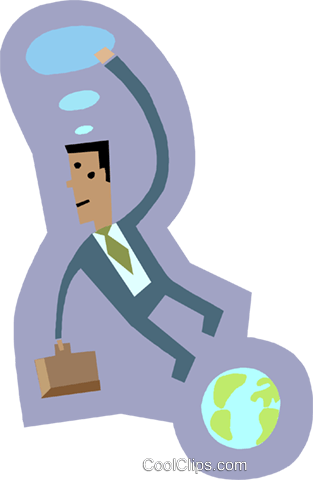 man floating perplexed in space Royalty Free Vector Clip Art illustration busi2405