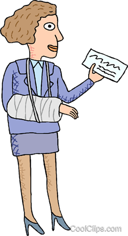 woman receiving a compensation check Royalty Free Vector Clip Art illustration medi0359