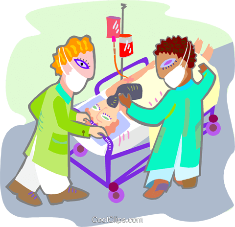 patient being wheeled into surgery Royalty Free Vector Clip Art illustration medi0360