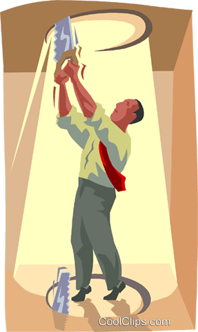 man cutting a hole in the ceiling Royalty Free Vector Clip Art illustration busi2427