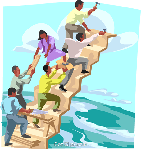 building a stairway, teamwork, metaphor Royalty Free Vector Clip Art illustration busi2428