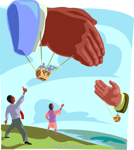 balloon hands shaking, greeting Royalty Free Vector Clip Art illustration busi2432