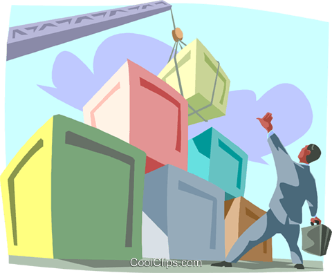 cargo being loaded with a crane Royalty Free Vector Clip Art illustration busi2434