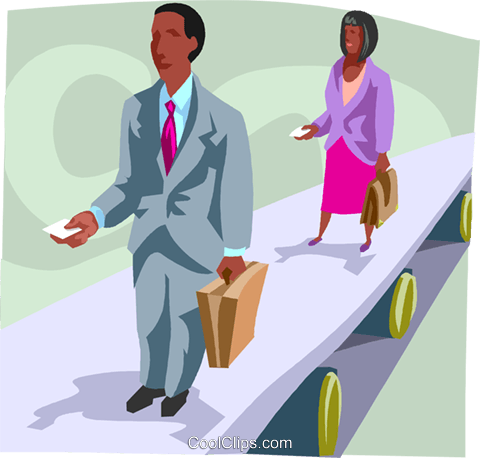 people on a conveyor belt Royalty Free Vector Clip Art illustration busi2435