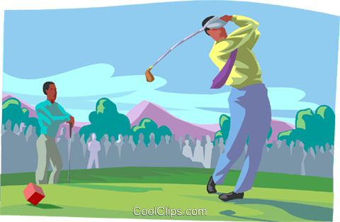 Business men golf game Royalty Free Vector Clip Art illustration busi2438