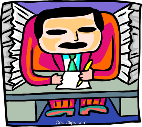 business metaphor, work piling up Royalty Free Vector Clip Art illustration busi2440