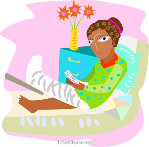 woman with a broken leg in a cast Royalty Free Vector Clip Art illustration medi0365