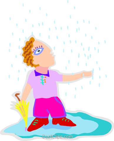 man in a rainstorm Royalty Free Vector Clip Art illustration peop4226