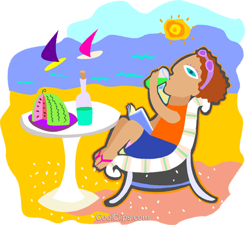 relaxing at the beach Royalty Free Vector Clip Art illustration peop4229