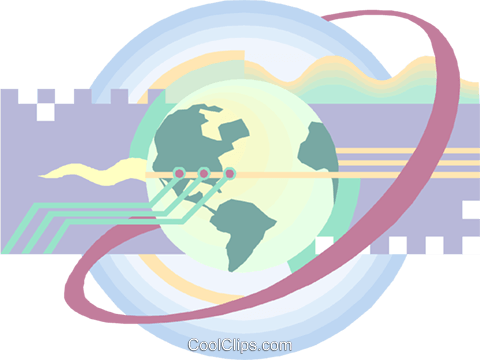 Globe and computer circuits Royalty Free Vector Clip Art illustration busi2451