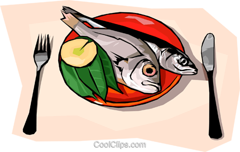 Food and dining, steamed fish Royalty Free Vector Clip Art illustration food1247