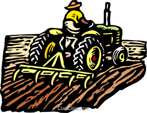 Farmer on tractor Royalty Free Vector Clip Art illustration indu1064
