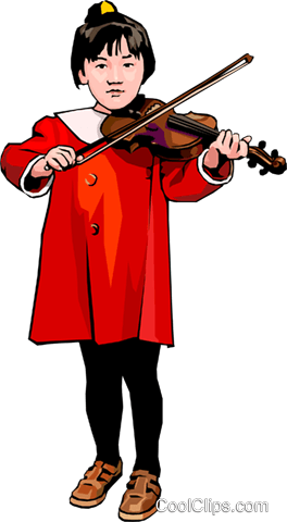 young girl playing the violin Royalty Free Vector Clip Art illustration peop4236