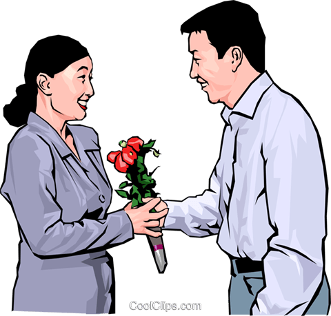 woman receiving flowers from an admirer Royalty Free Vector Clip Art illustration peop4238