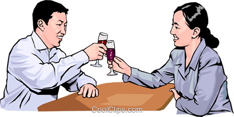 couple toasting one another Royalty Free Vector Clip Art illustration peop4241