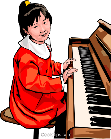 young girl at the piano Royalty Free Vector Clip Art illustration peop4244