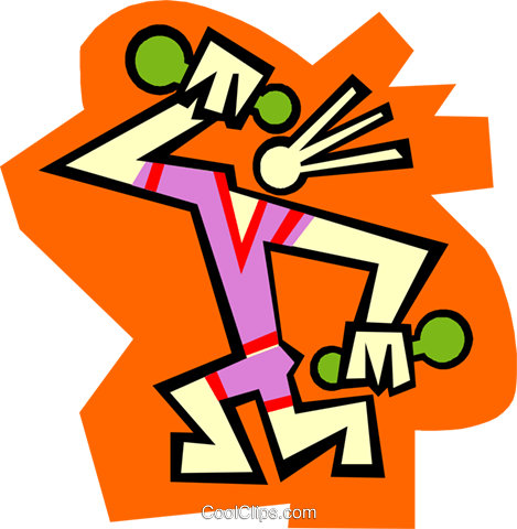 Figure with hand weights Royalty Free Vector Clip Art illustration spor0541