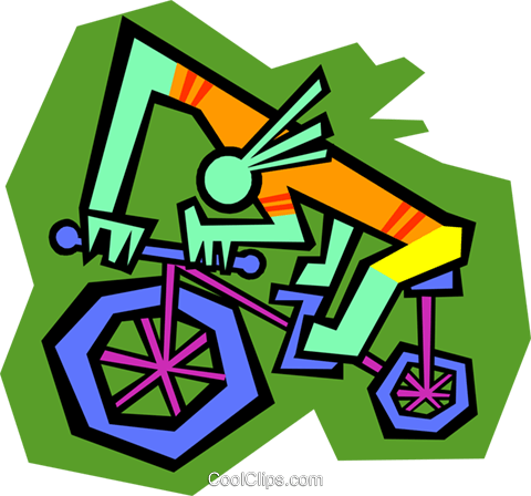 Figure on Bicycle Royalty Free Vector Clip Art illustration symb0207