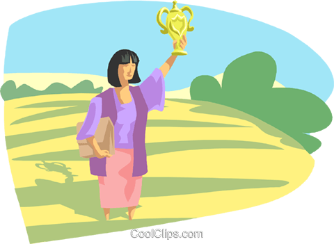 women with medallion in field Royalty Free Vector Clip Art illustration busi2460