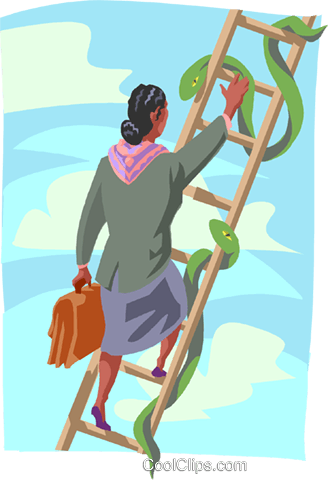 women climbing ladder with snakes Royalty Free Vector Clip Art illustration busi2465