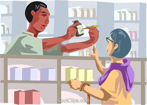 Pharmacists' helping customer Royalty Free Vector Clip Art illustration medi0377