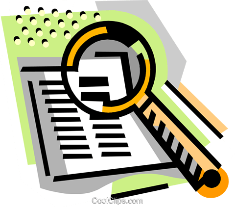 Book with magnifying glass Royalty Free Vector Clip Art illustration busi2467