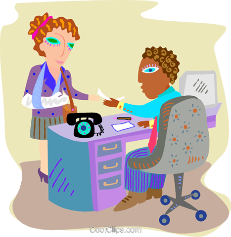 Woman receiving a disability check Royalty Free Vector Clip Art illustration busi2474