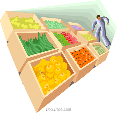 Figure looking at fresh produce Royalty Free Vector Clip Art illustration busi2489