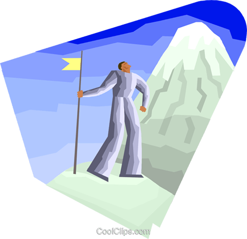Figure looking up mountain Royalty Free Vector Clip Art illustration busi2490