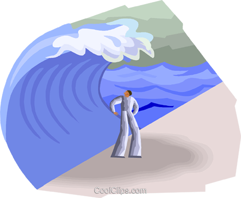 Figure about to be overtaken by wave Royalty Free Vector Clip Art illustration busi2491