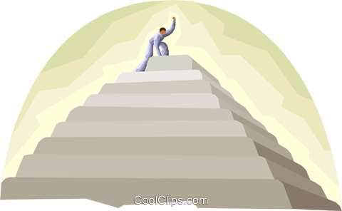 Figure at the top of tall structure Royalty Free Vector Clip Art illustration busi2493