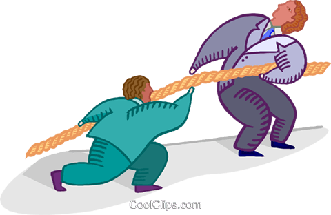 businessmen pulling a rope, tug-of-war Royalty Free Vector Clip Art illustration busi2494