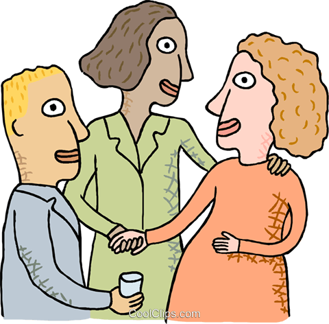 Co-workers discussing things Royalty Free Vector Clip Art illustration busi2501